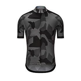 Men's Short Sleeve Cycling Jersey Grey Camo / Camouflage Bike Jersey Top Sports Clothing Apparel / High Elasticity