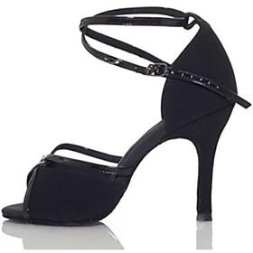 Women's Dance Shoes Latin Shoes / Ballroom Shoes / Line Dance Heel Splicing Slim High Heel Customizable Black / Brown / Performance / Satin / Leather
