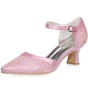 Women's Lace / Satin Spring  Summer Minimalism Wedding Shoes Chunky Heel Square Toe Blue / Pink / Ivory / Party  Evening