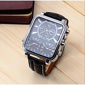 Men's Sport Watch Dress Watch Wrist Watch Quartz Luxury Shock Resistant Analog Black / White Black / One Year / Stainless Steel / Leather