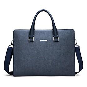 Men's Bags PU Leather Laptop Bag / Briefcase / Top Handle Bag Belt Zipper Solid Color for Date / Outdoor Black / Blue / Fall  Winter