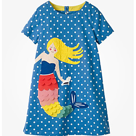 Kids Girls' Sweet Cartoon Short Sleeve Above Knee Dress Yellow