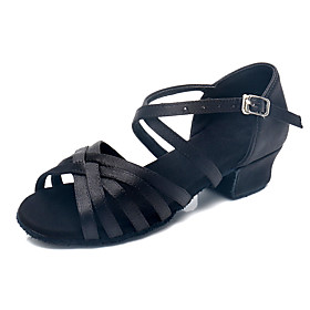 Women's Girls' Dance Shoes Latin Shoes / Ballroom Shoes / Line Dance Heel Thick Heel Customizable Leopard / Nude / White / Performance / Satin / Practice
