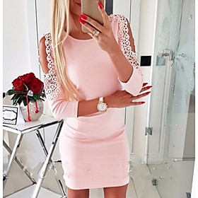Women's Lace Red Blushing Pink Dress Casual Going out Bodycon Solid Colored Lace up Hollow Out S M