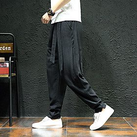 Men's Joggers Jogger Pants Track Pants Woven Pants Pants / Trousers Sweatpants Athleisure Wear Harem Linen Gym Workout Breathable Quick Dry Sweat-wicking Plus
