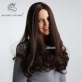 Synthetic Wig Curly Bouncy Curl Middle Part Wig Very Long Brown Synthetic Hair 26 inch Women's Synthetic Comfortable Natural Hairline Dark Brown BLONDE UNICORN