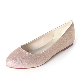 Women's Wedding Shoes Plus Size Flat Heel Round Toe Sweet Wedding Party  Evening Sparkling Glitter Solid Colored Synthetics White / Black / Light Purple