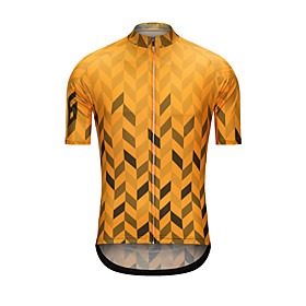 Men's Short Sleeve Cycling Jersey Yellow Bike Jersey Top Sports Clothing Apparel / High Elasticity