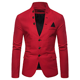 Men's Blazer Solid Colored White / Black / Red M / L / XL