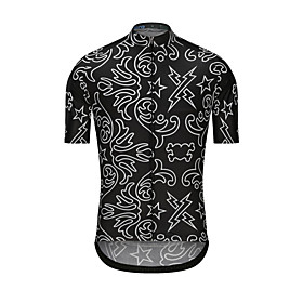 Men's Short Sleeve Cycling Jersey Black Stars Bike Jersey Top Sports Clothing Apparel / High Elasticity