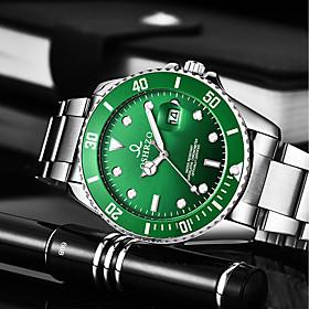 Men's Dress Watch Quartz Luxury Water Resistant / Waterproof Analog Black Blue Green / Stainless Steel / Stainless Steel / Calendar / date / day