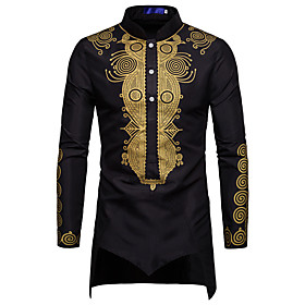 Men's Tribal Jacquard Print Shirt - Cotton Standing Collar Wine / White / Black / Long Sleeve