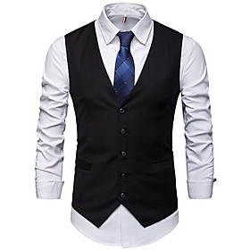 Men's V Neck Vest Regular Solid Colored Daily Sleeveless Black / Gray M / L / XL