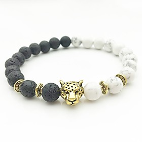 Men's Silver Gold AAA Cubic Zirconia Bead Bracelet Beads Cathedral Monster yin yang Hip-Hop Boho Stone Bracelet Jewelry Gold / Silver For Wedding Engagement