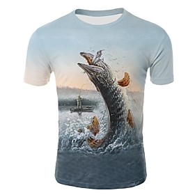 Men's 3D Graphic Print T-shirt - Cotton Round Neck Rainbow / Animal