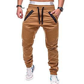 Men's Active / Basic Chinos wfh Sweatpants - Solid Colored Gray Army Green Khaki XL XXL XXXL