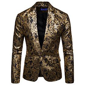 Men's Blazer Floral Black / Wine / Royal Blue M / L / XL / Slim