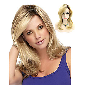 Synthetic Wig Wavy Bob Wig Blonde Medium Length Light Blonde Synthetic Hair 14INCH Women's Adjustable Heat Resistant Classic Black Blonde