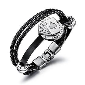 Men's Leather Bracelet Loom Bracelet Braided Poker Trendy Fashion Cord Bracelet Jewelry Black For Daily Work