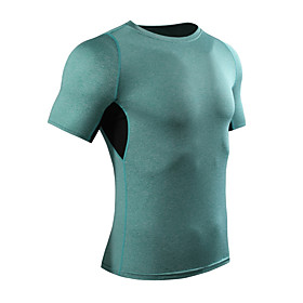 Men's Compression Shirt Short Sleeve Compression Base layer T Shirt Top Plus Size Lightweight Breathable Quick Dry Soft Sweat-wicking Green Grey Silver / Black