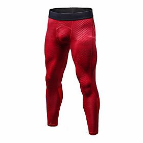 Men's Compression Pants Compression Base layer Tights Bottoms Plus Size Lightweight Breathable Quick Dry Soft Sweat-wicking Red Blue BlackSliver Winter Road Bi