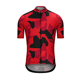 Men's Short Sleeve Cycling Jersey Black / Red Camo / Camouflage Bike Jersey Top Sports Clothing Apparel / High Elasticity
