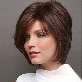 Synthetic Wig Natural Straight Asymmetrical Wig Short Medium Brown / Strawberry Blonde Synthetic Hair 8 inch Women's Party Brown