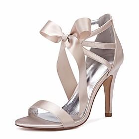 Women's Wedding Shoes Lace up Stiletto Heel Round Toe Rhinestone / Bowknot / Satin Flower Satin Sweet / British Spring / Spring  Summer Purple / Yellow / Red /