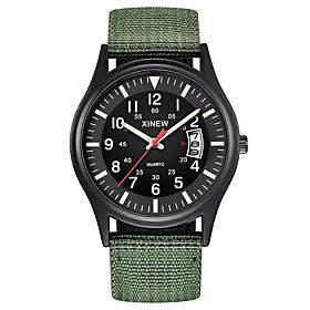 Men's Military Watch Hunting Watch Quartz Classic Calendar / date / day Analog Black Dark Green Blue / One Year / Nylon / Chronograph / SSUO 377