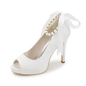 Women's Wedding Shoes Spring / Summer Stiletto Heel Peep Toe Minimalism Wedding Party  Evening Imitation Pearl Solid Colored Satin White / Black / Purple