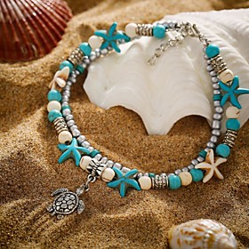 Ankle Bracelet feet jewelry Tropical Ethnic Fashion Women's Body Jewelry For Holiday Street Double Layered Turquoise Alloy Turtle Starfish Turquoise 1pc