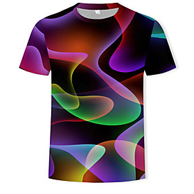 Men's 3D Graphic Print T-shirt Basic Street chic Casual / Daily Plus Size Round Neck Rainbow / Summer / Short Sleeve
