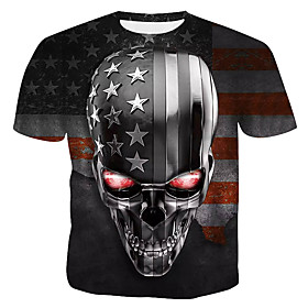 Men's 3D Graphic Print T-shirt - Cotton Daily Round Neck Rainbow / Short Sleeve / Skull