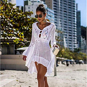 Women's Cover-Up Swimsuit Solid Colored Swimwear Bathing Suits White Black Blue Green