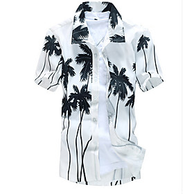 Men's Beach Shirt Floral Tops White Green