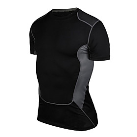 Men's Compression Shirt Short Sleeve Compression Base layer T Shirt Top Plus Size Lightweight Breathable Quick Dry Soft Sweat-wicking GrayWhite Black / White G