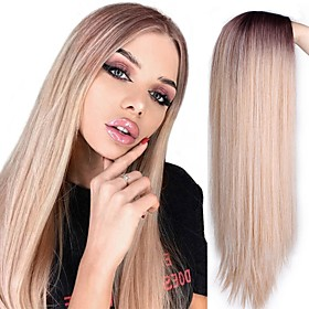 Synthetic Extentions Natural Straight Layered Haircut Wig Medium Length Black / Gold Light golden Grey Natural Black Black / Green Synthetic Hair 24 inch Women