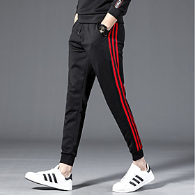 Men's Basic / Street chic Chinos wfh Sweatpants - Solid Colored / Striped Drawstring / Beam Foot White Red M L XL