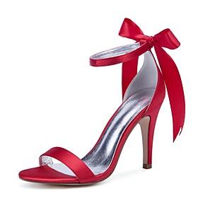Women's Wedding Shoes Lace up Stiletto Heel Round Toe Rhinestone / Sparkling Glitter / Tassel Satin Sweet / British Spring  Summer Purple / Yellow / Red / Part