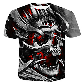 Men's 3D Graphic Print T-shirt - Cotton Daily Casual Round Neck Gray / Summer / Short Sleeve / Skull