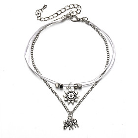 Ankle Bracelet Tropical Ethnic Fashion Women's Body Jewelry For Carnival Holiday Rope Leather Alloy Elephant Sun Silver 1pc