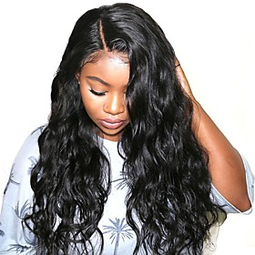 Synthetic Lace Front Wig Wavy Water Wave Layered Haircut Side Part L Part Wig Long Black#1B Synthetic Hair 26 inch Women's Soft New Arrival Natural Hairline Bl