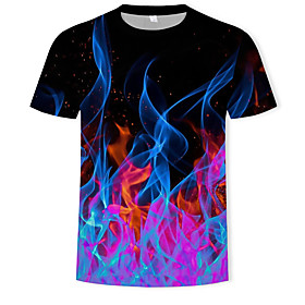 Men's 3D Graphic Print T-shirt Basic Street chic Casual / Daily Plus Size Round Neck Black / Short Sleeve