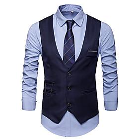 Men's V Neck Vest White / Black / Wine XL / XXL / XXXL / Slim