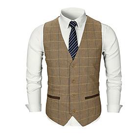 Men's V Neck Vest Regular Striped Solid Colored Daily Basic Fall Sleeveless Khaki / Light gray / Dark Gray M / L / XL
