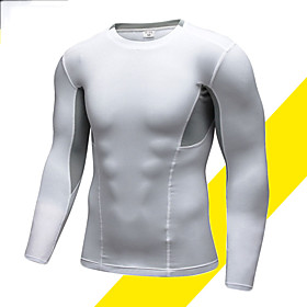 Men's Compression Shirt Long Sleeve Compression Base layer T Shirt Top Plus Size Lightweight Breathable Quick Dry Soft Sweat-wicking Black White Fleece Lycra W