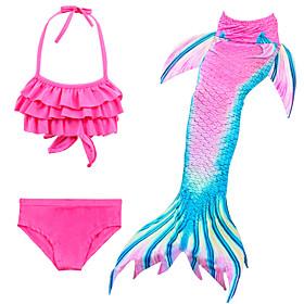 Kids Girls' Active Cute Mermaid Tail Color Block Sleeveless Swimwear Fuchsia
