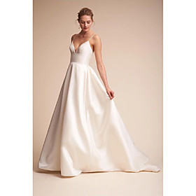 A-Line Wedding Dresses V Neck Court Train Satin Spaghetti Strap Little White Dress Open Back Sexy with Draping Side-Draped 2020 / Beautiful Back