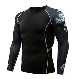 Men's Compression Shirt Long Sleeve Compression Base layer T Shirt Top Plus Size Lightweight Breathable Quick Dry Soft Sweat-wicking Black Dark Grey GrayWhite