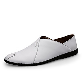Men's Loafers  Slip-Ons Leather Shoes Driving Shoes Casual Daily Nappa Leather / Cowhide Breathable Non-slipping Dark Brown / White / Black Spring  Summer